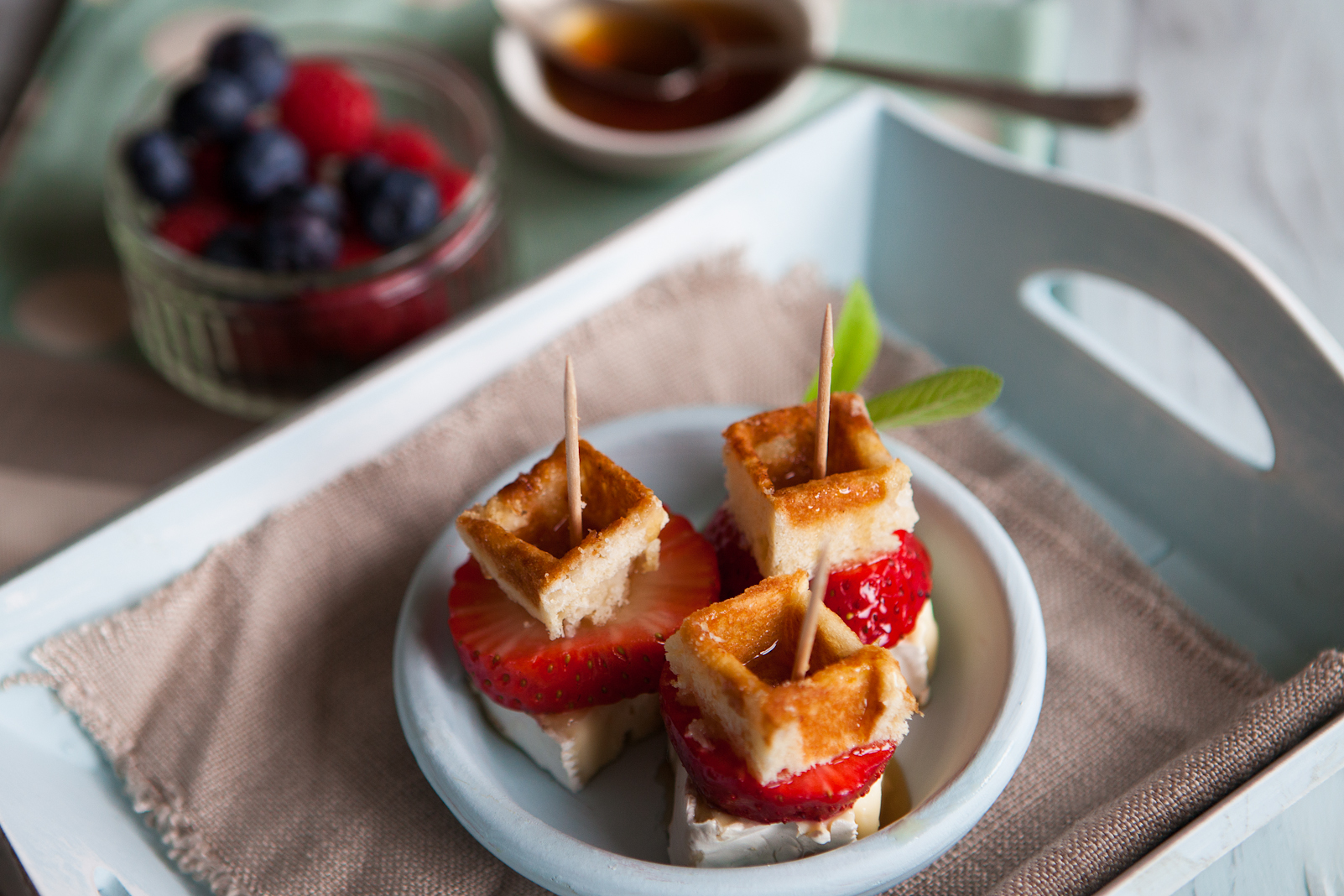 Fruity Brie & Maple Syrup Bites   Food Photography